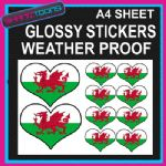 LOVE WALES HEART FLAG GRAPHICS CAR BUMPER WEATHER PROOF STICKERS MIXED SIZES